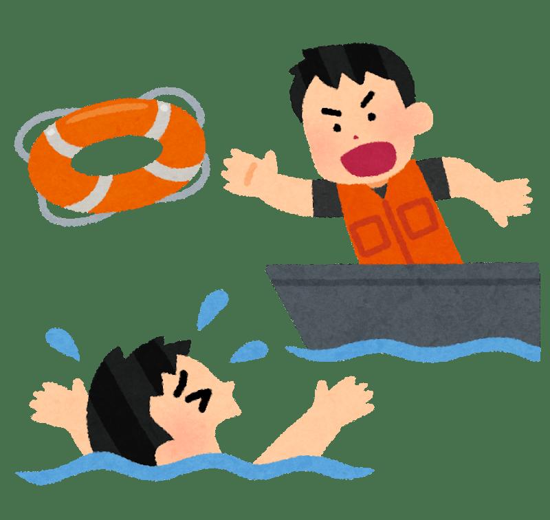 溺れる男性に浮き輪を投げ込む男性のイラスト