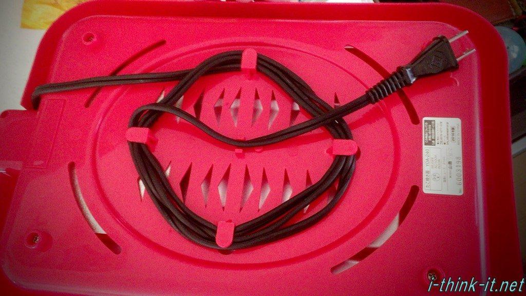 電源ケーブルをまとめたたこ焼き機