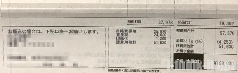 トヨタに対抗した日産ディーラーの車検見積書