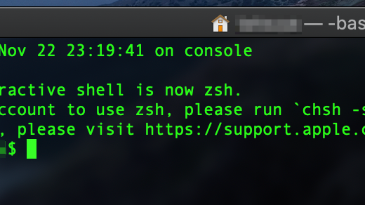 Macで「The default interactive shell is now zsh」と出た場合の対処法