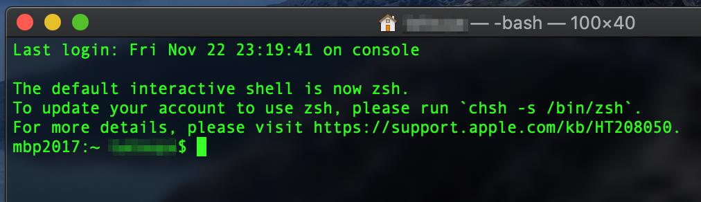 ターミナル出力「The default interactive shell is now zsh」