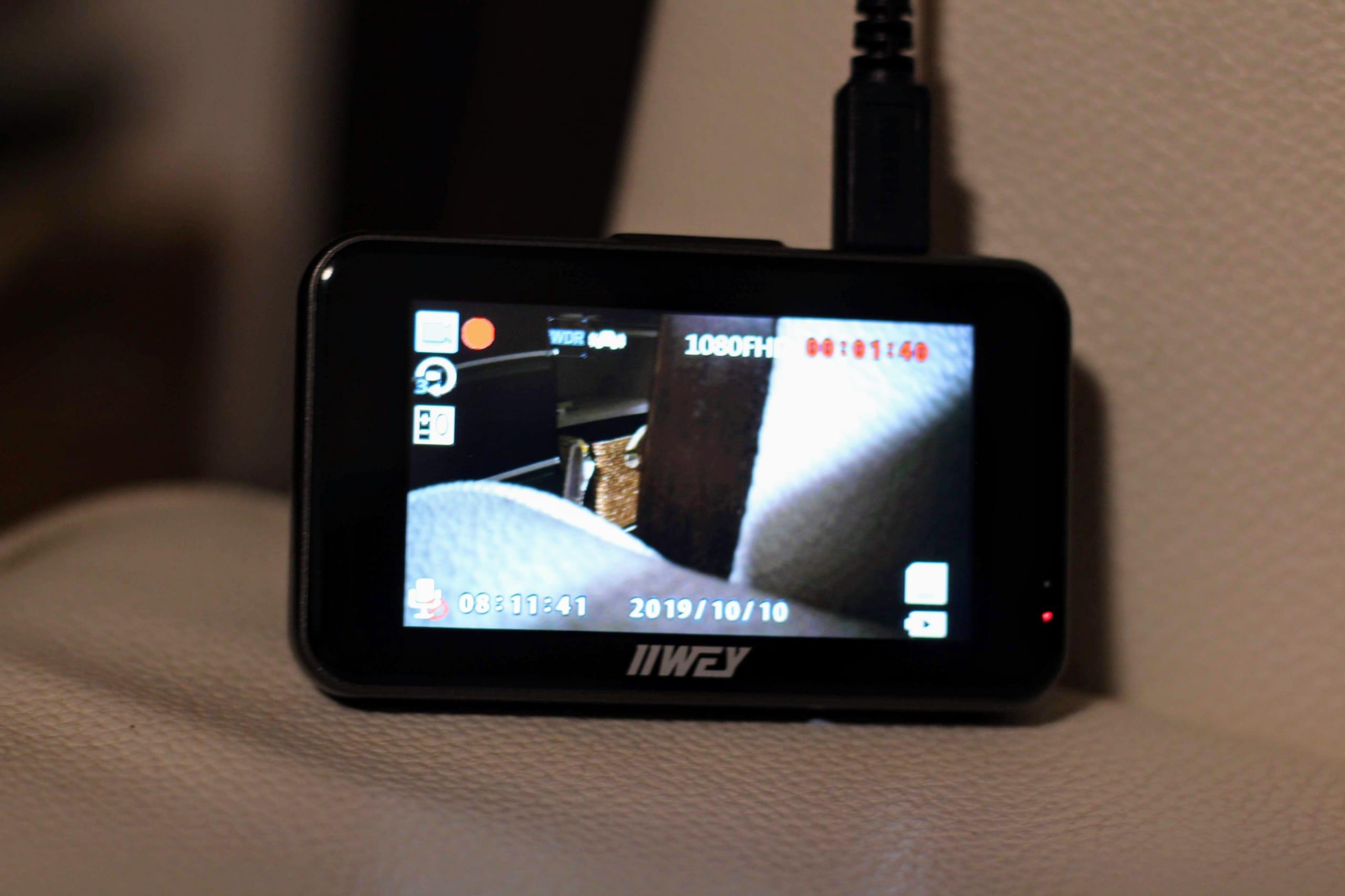 USB給電で起動したドライブレコーダー