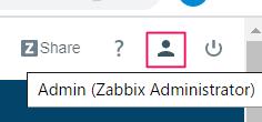 ZABBIXの表示を英語から日本語へ変更するためユーザーマークをタップ