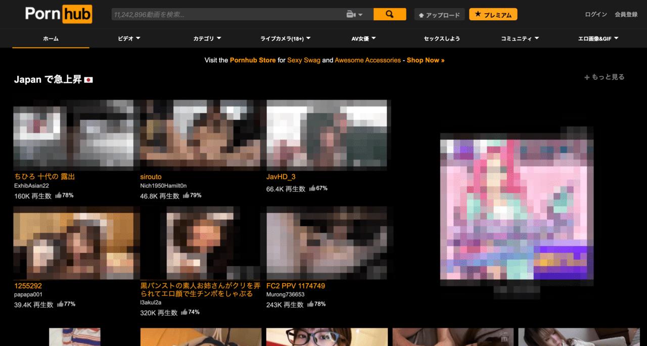 Pornhubサイトページ