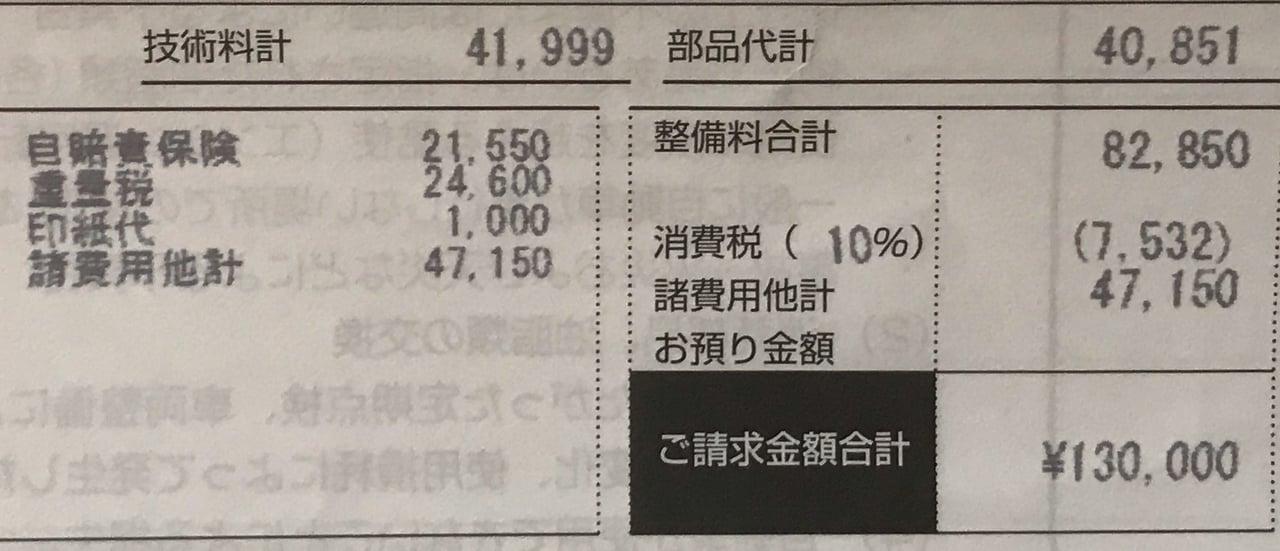 ディーラーでの車検費用明細