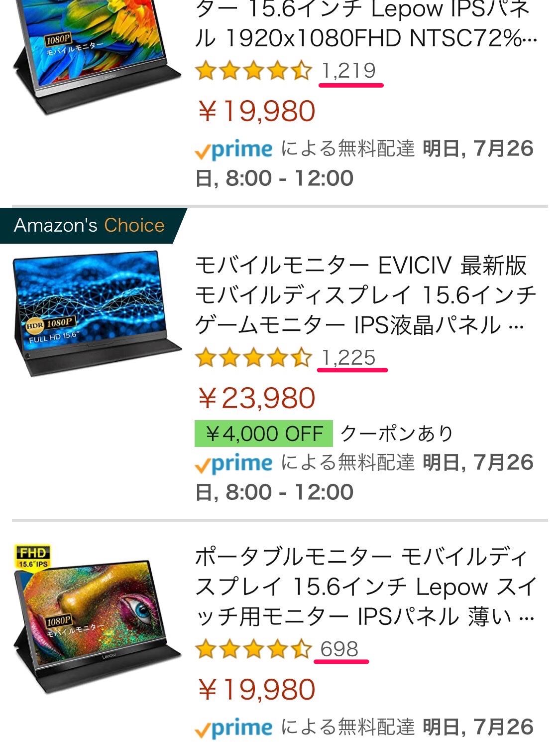 レビューが多いモバイルモニター商品